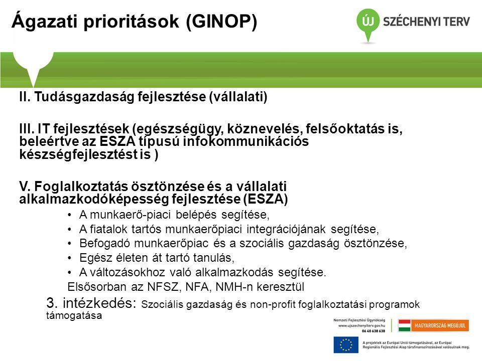 Ágazati prioritások (GINOP) II. Tudásgazdaság fejlesztése (vállalati) III. IT fejlesztések (egészségügy, köznevelés, felsőoktatás is, beleértve az ESZ