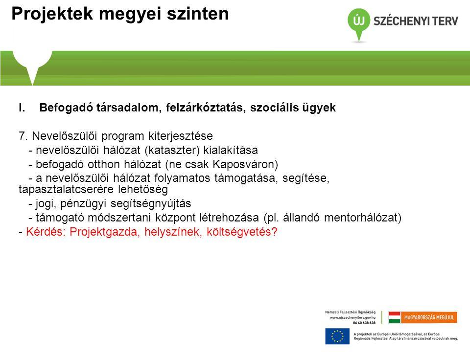 Projektek megyei szinten I.Befogadó társadalom, felzárkóztatás, szociális ügyek 7.
