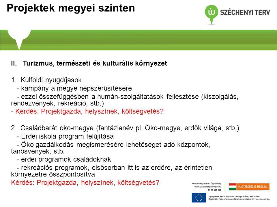 Projektek megyei szinten II.Turizmus, természeti és kulturális környezet 1.