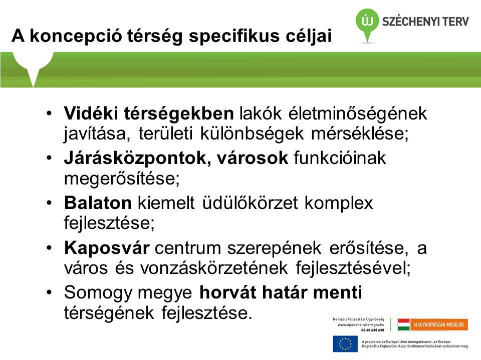 A koncepció térség specifikus céljai Vidéki térségekben lakók életminőségének javítása, területi különbségek mérséklése; Járásközpontok, városok funkcióinak megerősítése; Balaton kiemelt üdülőkörzet komplex fejlesztése; Kaposvár centrum szerepének erősítése, a város és vonzáskörzetének fejlesztésével; Somogy megye horvát határ menti térségének fejlesztése.