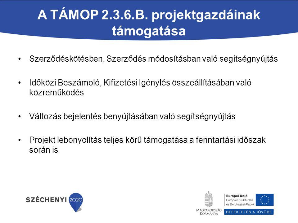 A TÁMOP 2.3.6.B. projektgazdáinak támogatása Szerződéskötésben, Szerződés módosításban való segítségnyújtás Időközi Beszámoló, Kifizetési Igénylés öss