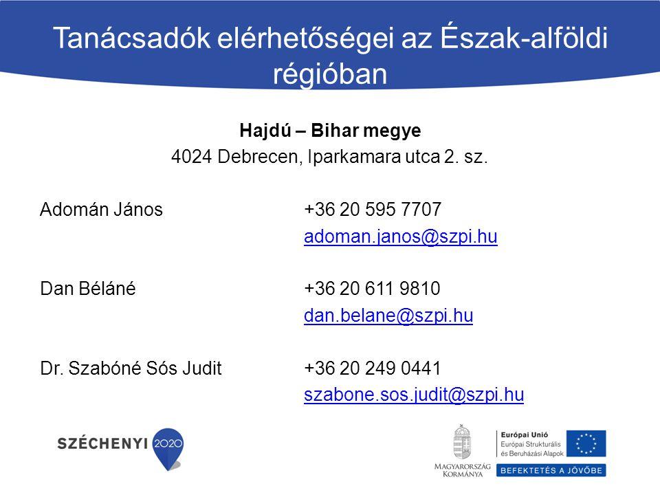 Tanácsadók elérhetőségei az Észak-alföldi régióban Hajdú – Bihar megye 4024 Debrecen, Iparkamara utca 2. sz. Adomán János +36 20 595 7707 adoman.janos