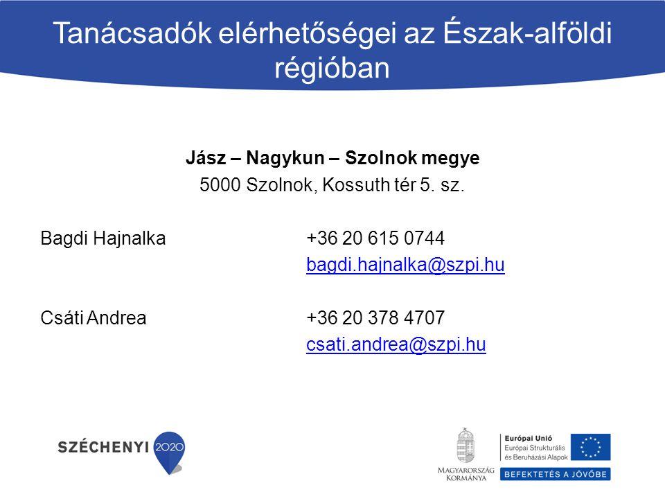 Tanácsadók elérhetőségei az Észak-alföldi régióban Jász – Nagykun – Szolnok megye 5000 Szolnok, Kossuth tér 5.