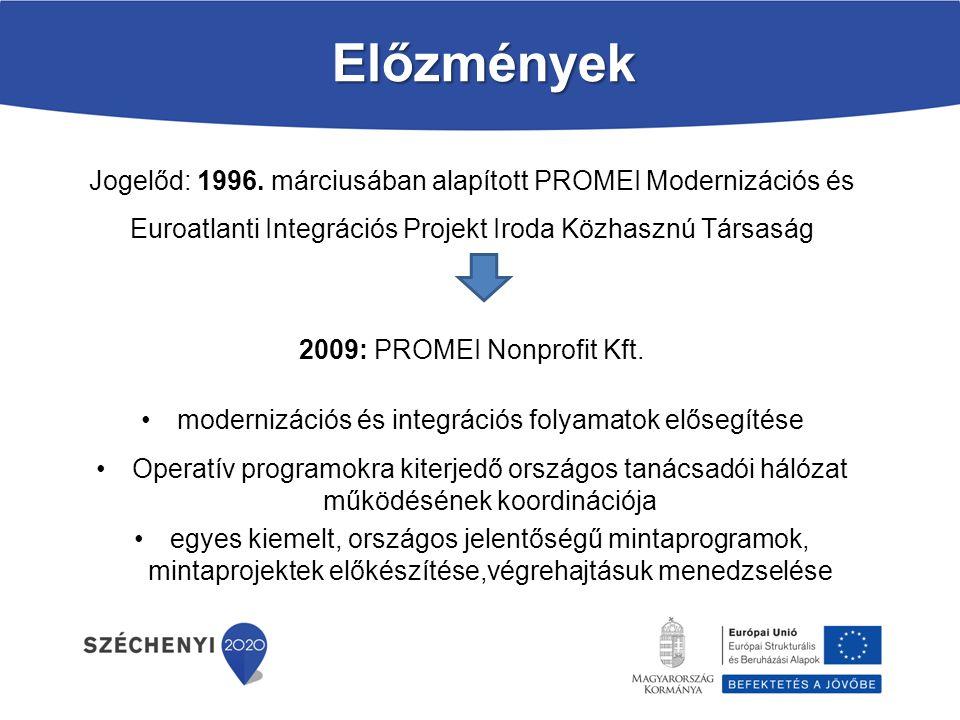 Előzmények Jogelőd: 1996. márciusában alapított PROMEI Modernizációs és Euroatlanti Integrációs Projekt Iroda Közhasznú Társaság 2009: PROMEI Nonprofi