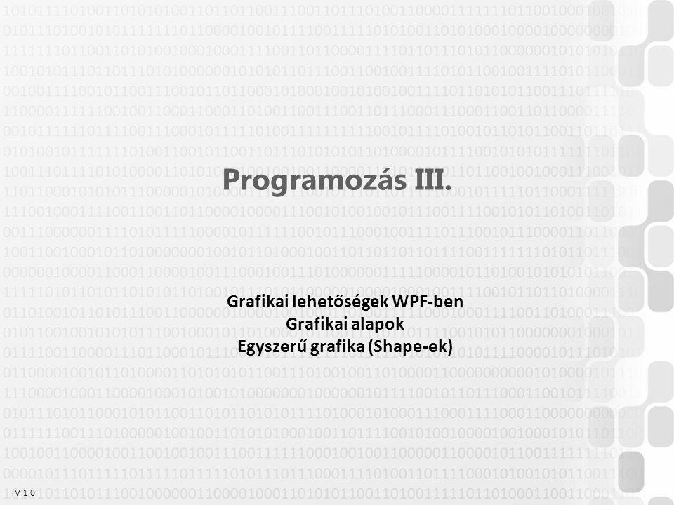V 1.0 Programozás III. Grafikai lehetőségek WPF-ben Grafikai alapok Egyszerű grafika (Shape-ek)