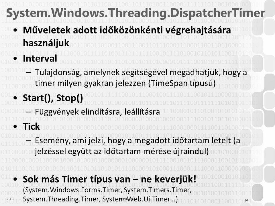 V 1.0ÓE-NIK, 2014 System.Windows.Threading.DispatcherTimer Műveletek adott időközönkénti végrehajtására használjuk Interval –Tulajdonság, amelynek seg