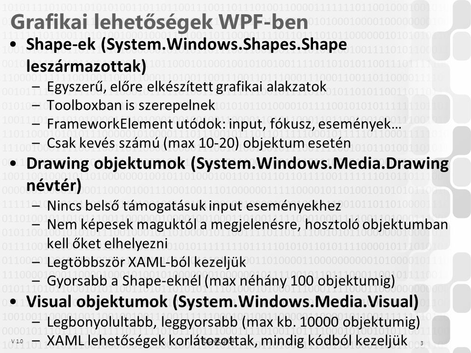 V 1.0ÓE-NIK, 2014 WPF grafikai alapok – koordináta-rendszer A WPF-ben használt koordináta-rendszer origója a bal felső sarokban van – minden helyzetmegadás a tartalmazó objektum bal felső sarkához képest értendő –Egy objektum helyzetét befolyásolják pl.: HorizontalAlignment, Margin, Padding, tartalmazó/tartalommenedzser beállításai, … –A fentiekből együtt, ún.