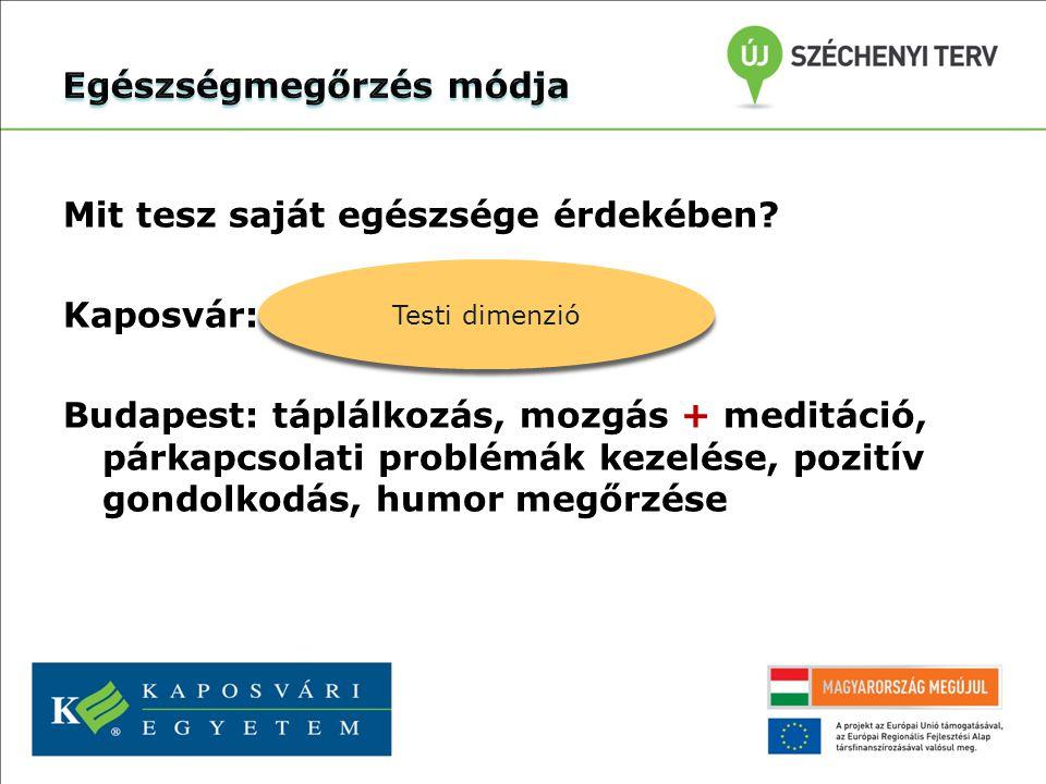Mit tesz saját egészsége érdekében? Kaposvár: táplálkozás + mozgás Budapest: táplálkozás, mozgás + meditáció, párkapcsolati problémák kezelése, pozití