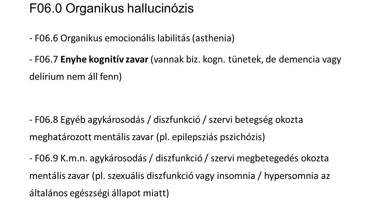 F06.0 Organikus hallucinózis - F06.6 Organikus emocionális labilitás (asthenia) - F06.7 Enyhe kognitív zavar (vannak biz. kogn. tünetek, de demencia v