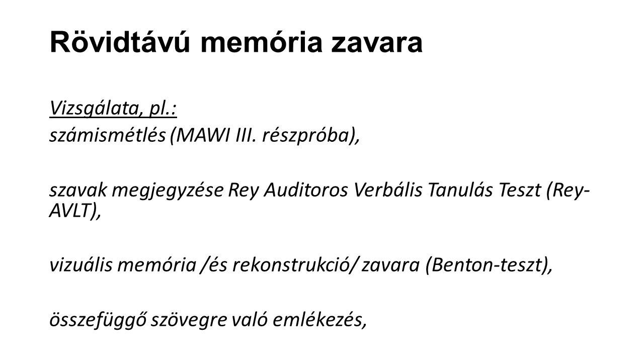 Rövidtávú memória zavara Vizsgálata, pl.: számismétlés (MAWI III. részpróba), szavak megjegyzése Rey Auditoros Verbális Tanulás Teszt (Rey- AVLT), viz