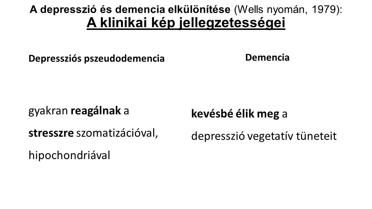 A depresszió és demencia elkülönítése (Wells nyomán, 1979): A klinikai kép jellegzetességei Depressziós pszeudodemencia gyakran reagálnak a stresszre