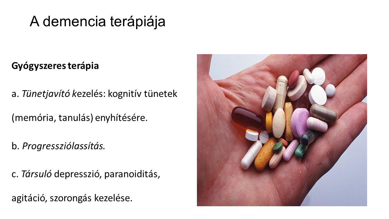 A demencia terápiája Gyógyszeres terápia a. Tünetjavító kezelés: kognitív tünetek (memória, tanulás) enyhítésére. b. Progressziólassítás. c. Társuló d