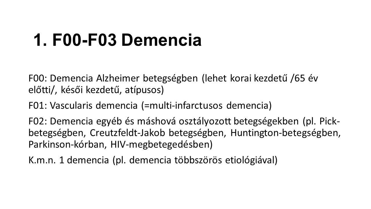 1. F00-F03 Demencia F00: Demencia Alzheimer betegségben (lehet korai kezdetű /65 év előtti/, késői kezdetű, atípusos) F01: Vascularis demencia (=multi