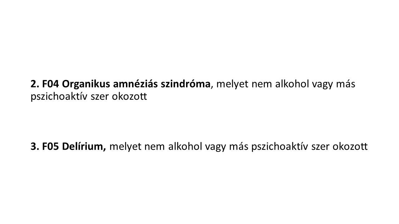 2. F04 Organikus amnéziás szindróma, melyet nem alkohol vagy más pszichoaktív szer okozott 3. F05 Delírium, melyet nem alkohol vagy más pszichoaktív s