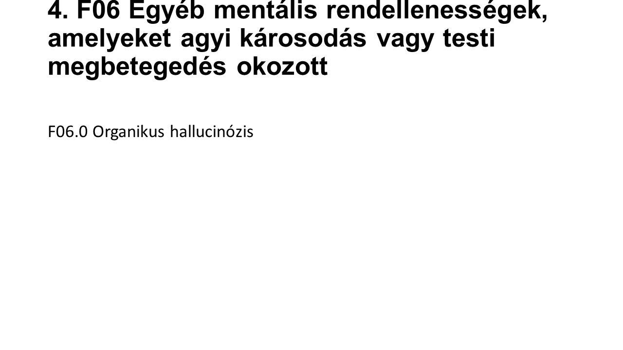 F06.1 Organikus katatonia F06.2 Organikus paranoid (téveszmés) /szkizofrénia-szerű/ zavar F06.3 Organikus hangulat- (affektív) zavarok F06.4 Organikus szorongászavar F06.5 Organikus disszociatív zavar