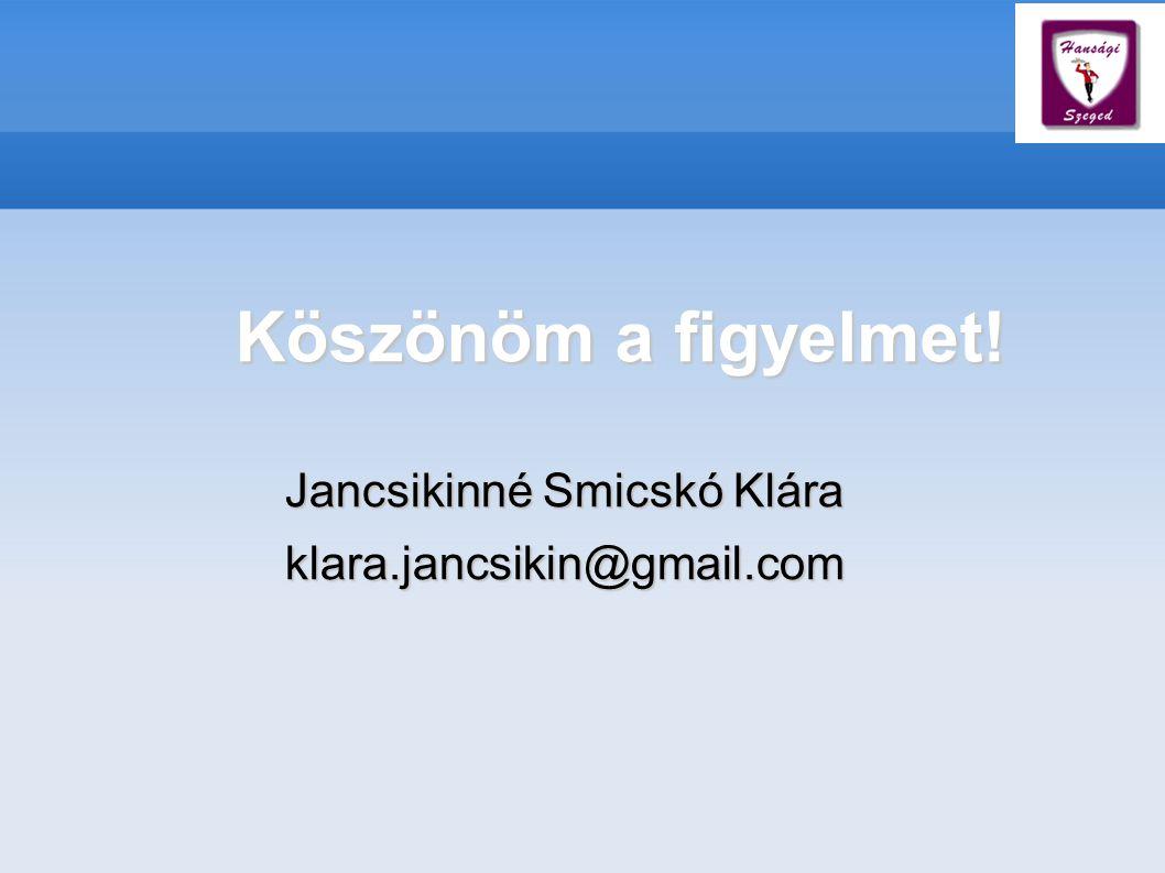 Köszönöm a figyelmet! Jancsikinné Smicskó Klára klara.jancsikin@gmail.com