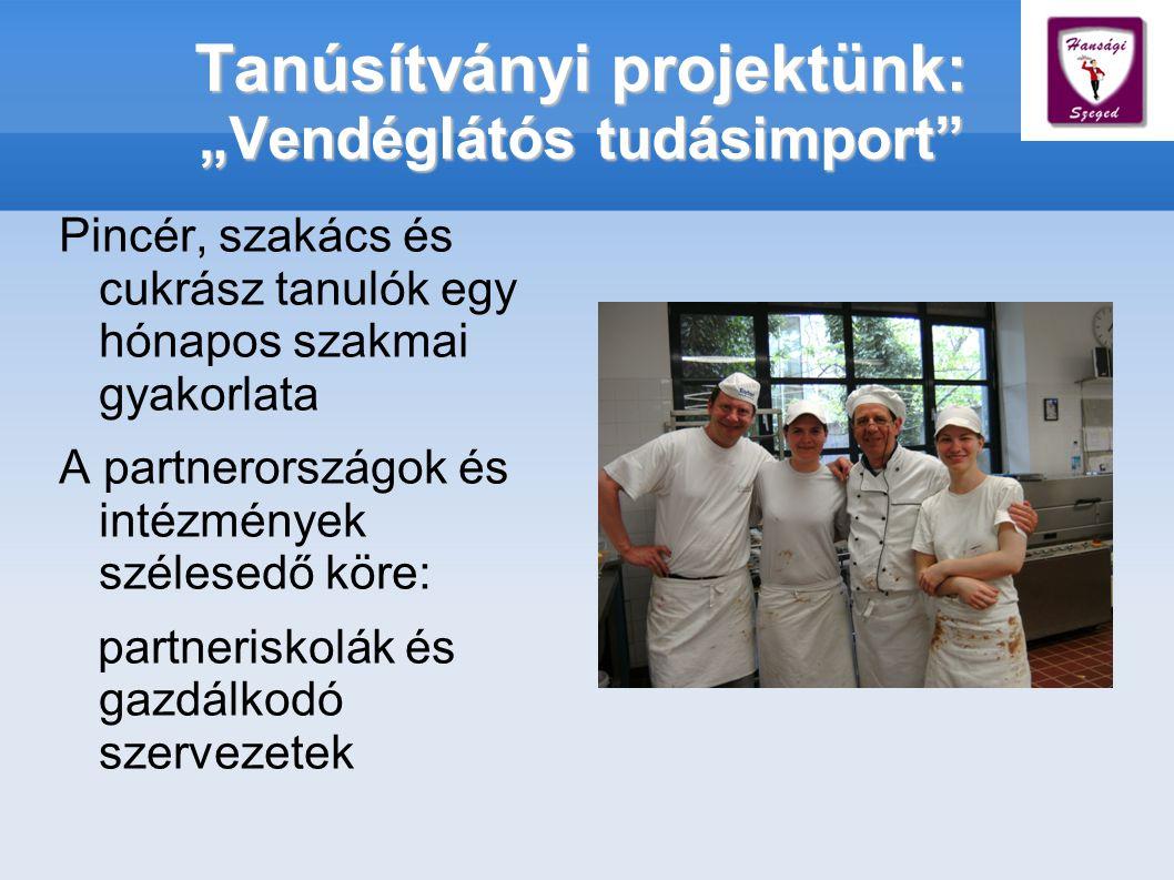 """Tanúsítványi projektünk: """"Vendéglátós tudásimport Pincér, szakács és cukrász tanulók egy hónapos szakmai gyakorlata A partnerországok és intézmények szélesedő köre: partneriskolák és gazdálkodó szervezetek"""