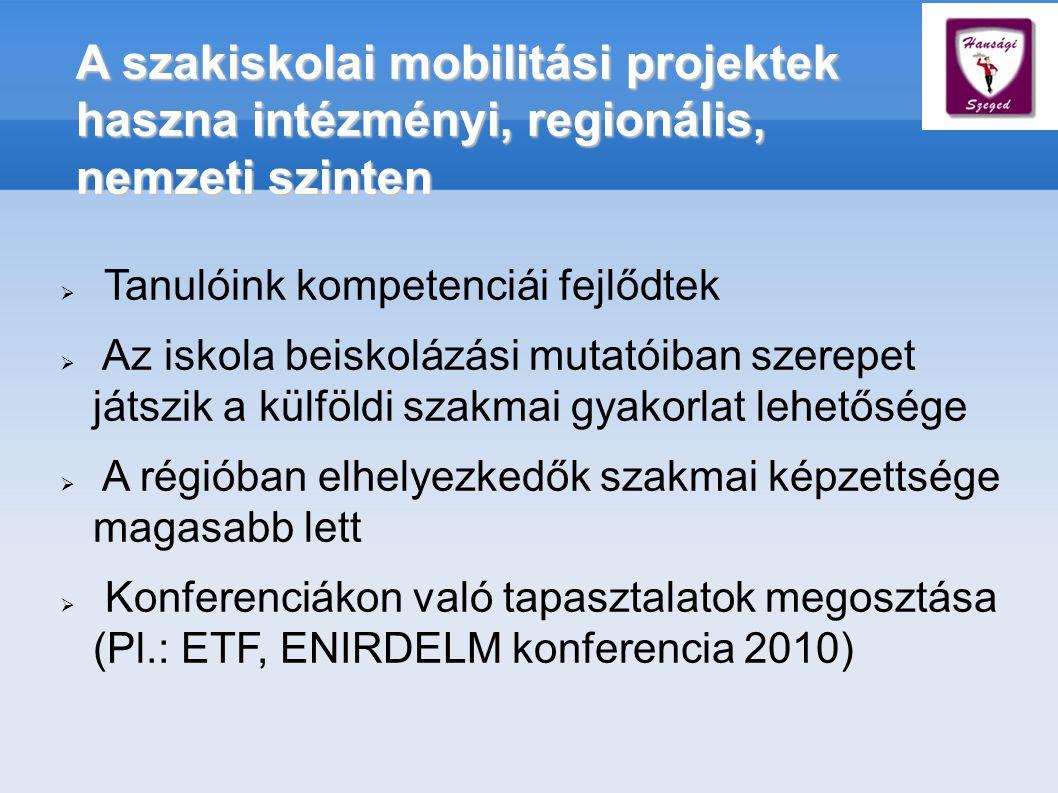 A szakiskolai mobilitási projektek haszna intézményi, regionális, nemzeti szinten  Tanulóink kompetenciái fejlődtek  Az iskola beiskolázási mutatóiban szerepet játszik a külföldi szakmai gyakorlat lehetősége  A régióban elhelyezkedők szakmai képzettsége magasabb lett  Konferenciákon való tapasztalatok megosztása (Pl.: ETF, ENIRDELM konferencia 2010)