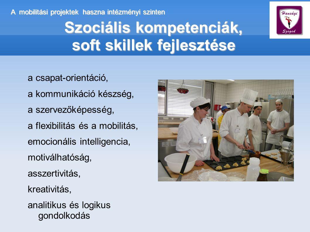 A mobilitási projektek haszna intézményi szinten Szociális kompetenciák, soft skillek fejlesztése a csapat-orientáció, a kommunikáció készség, a szervezőképesség, a flexibilitás és a mobilitás, emocionális intelligencia, motiválhatóság, asszertivitás, kreativitás, analitikus és logikus gondolkodás