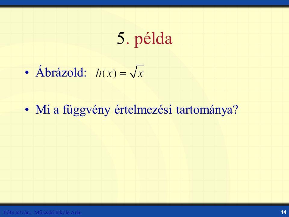 Tóth István – Műszaki Iskola Ada 14 5. példa Ábrázold: Mi a függvény értelmezési tartománya?