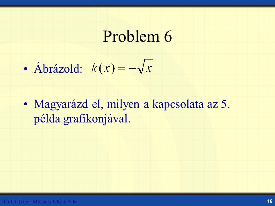Tóth István – Műszaki Iskola Ada 16 Problem 6 Ábrázold: Magyarázd el, milyen a kapcsolata az 5. példa grafikonjával.