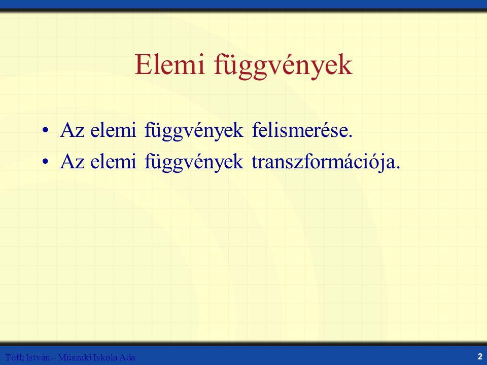 Tóth István – Műszaki Iskola Ada 2 Elemi függvények Az elemi függvények felismerése. Az elemi függvények transzformációja.