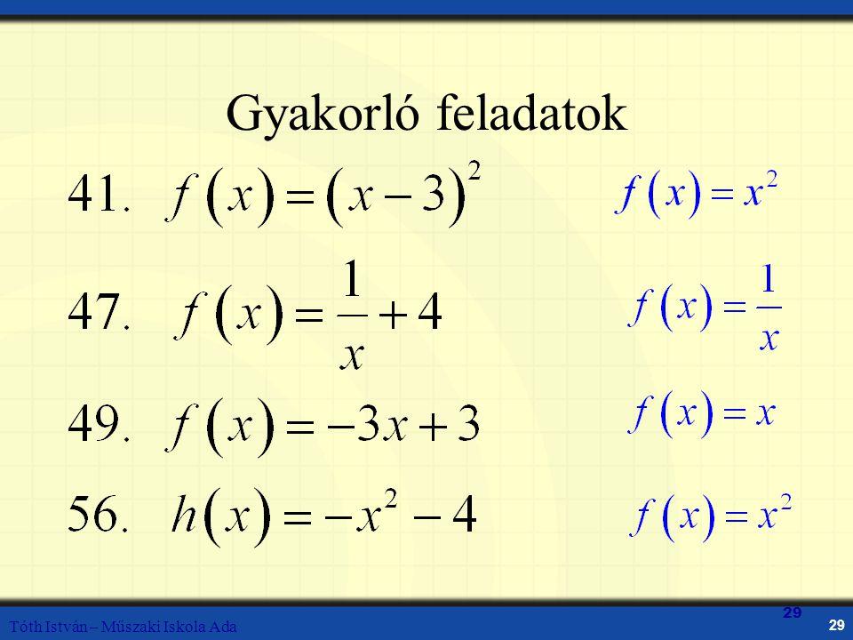 Tóth István – Műszaki Iskola Ada 29 Gyakorló feladatok