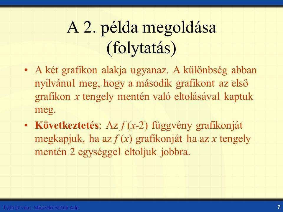 Tóth István – Műszaki Iskola Ada 7 A 2. példa megoldása (folytatás) A két grafikon alakja ugyanaz. A különbség abban nyilvánul meg, hogy a második gra