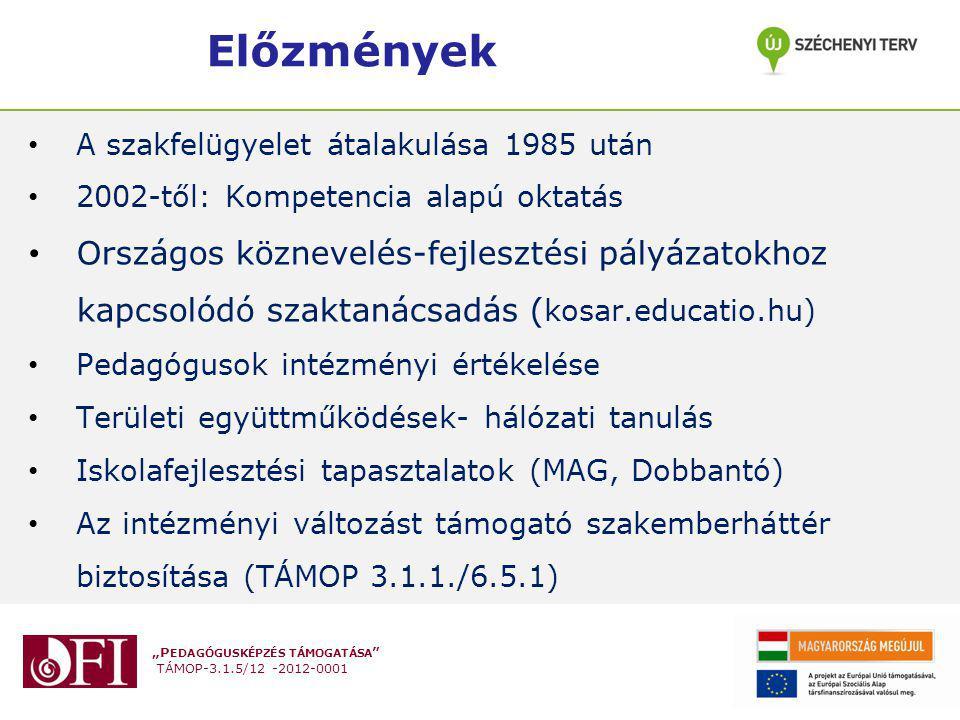 """""""P EDAGÓGUSKÉPZÉS TÁMOGATÁSA TÁMOP-3.1.5/12 -2012-0001 Iskolafejlesztési tapasztalatok Az iskolafejlesztés a nevelés és oktatás folyamatainak és az e folyamatokat támogató környezetnek a tanulói eredmények javítása érdekében történő megváltoztatása; az iskolának a változás kezelésére való képességének fejlődése mellett."""