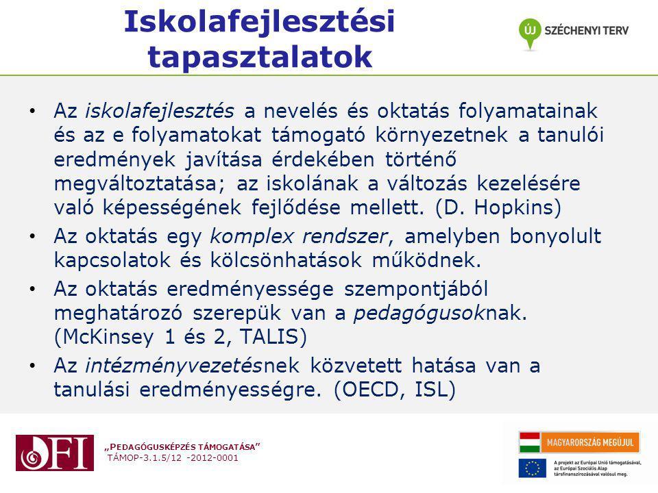 """""""P EDAGÓGUSKÉPZÉS TÁMOGATÁSA """" TÁMOP-3.1.5/12 -2012-0001 Iskolafejlesztési tapasztalatok Az iskolafejlesztés a nevelés és oktatás folyamatainak és az"""