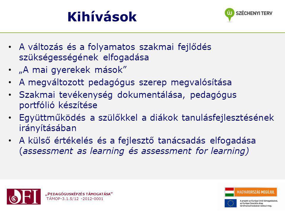 """""""P EDAGÓGUSKÉPZÉS TÁMOGATÁSA TÁMOP-3.1.5/12 -2012-0001 Lehetséges célok Átfogó cél: Minden egyes tanuló tanulási eredményességének növelése Hosszú távú célok: - Sikeres továbbtanulás/elhelyezkedés - Megfelelés a következő iskolafokban/munkahelyen - Elégedett partnerek - Piacképes tudás - Mentálisan és fizikailag egészséges diákok Rövid távú célok: - Jobb eredmények (egyéni fejlődés) a kompetenciaméréseken - Magasabb tanulmányi átlag – kisebb különbségek - Több résztvevő és eredmény a versenyeken - Tanulásközpontú tanulási környezet - IKT-val segített tanulás bővülése - stb."""