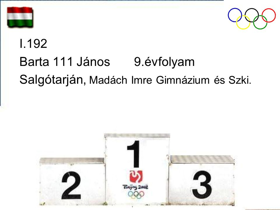 I.192 Barta 111 János 9.évfolyam Salgótarján, Madách Imre Gimnázium és Szki.
