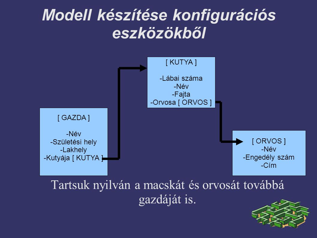 Modell készítése konfigurációs eszközökből Tartsuk nyilván a macskát és orvosát továbbá gazdáját is.