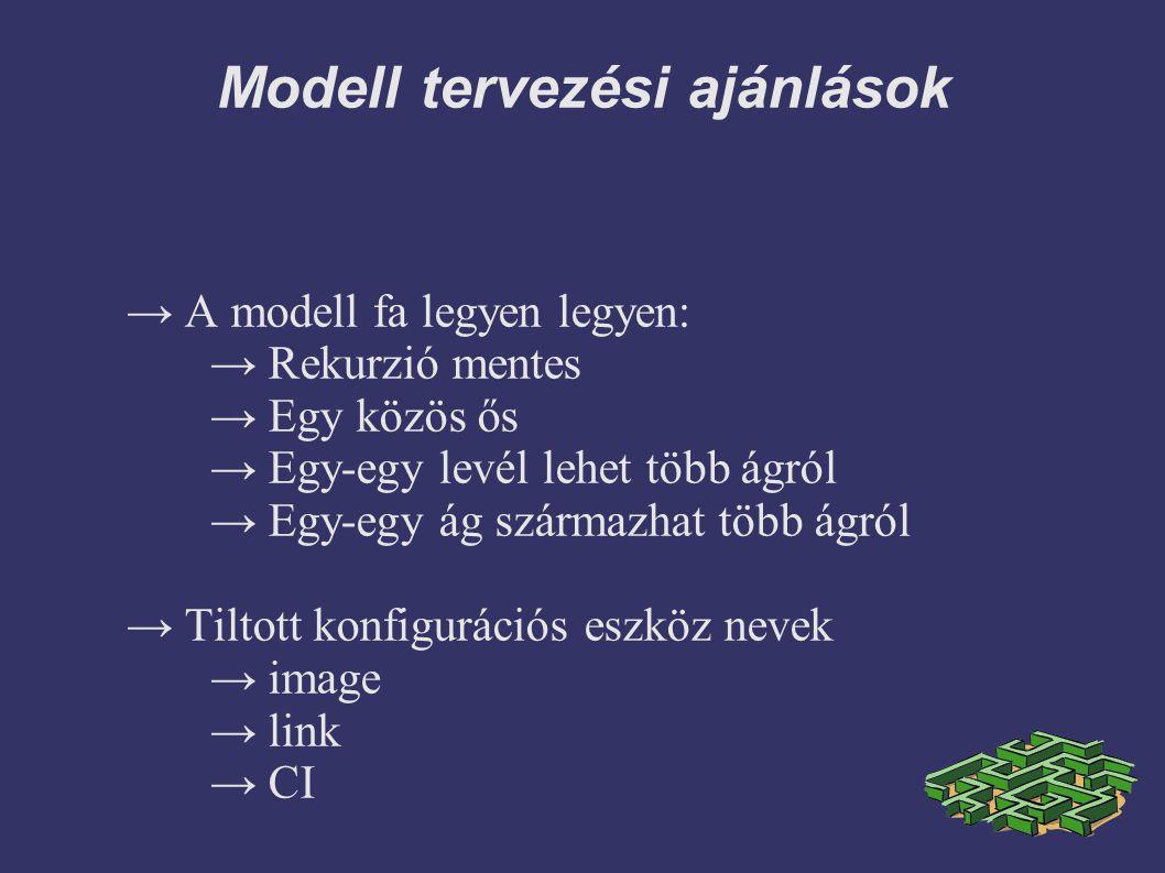 Modell tervezési ajánlások → A modell fa legyen legyen: → Rekurzió mentes → Egy közös ős → Egy-egy levél lehet több ágról → Egy-egy ág származhat több ágról → Tiltott konfigurációs eszköz nevek → image → link → CI