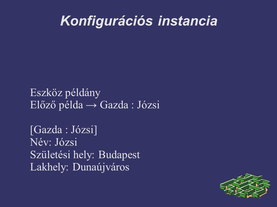 Konfigurációs instancia Eszköz példány Előző példa → Gazda : Józsi [Gazda : Józsi] Név: Józsi Születési hely: Budapest Lakhely: Dunaújváros
