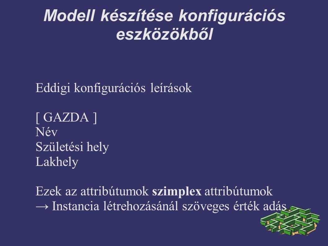 Modell készítése konfigurációs eszközökből Eddigi konfigurációs leírások [ GAZDA ] Név Születési hely Lakhely Ezek az attribútumok szimplex attribútumok → Instancia létrehozásánál szöveges érték adás