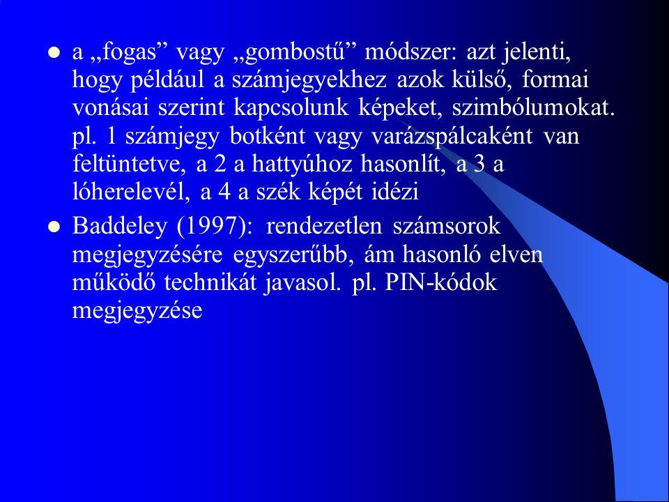 """a """"fogas"""" vagy """"gombostű"""" módszer: azt jelenti, hogy például a számjegyekhez azok külső, formai vonásai szerint kapcsolunk képeket, szimbólumokat. pl."""