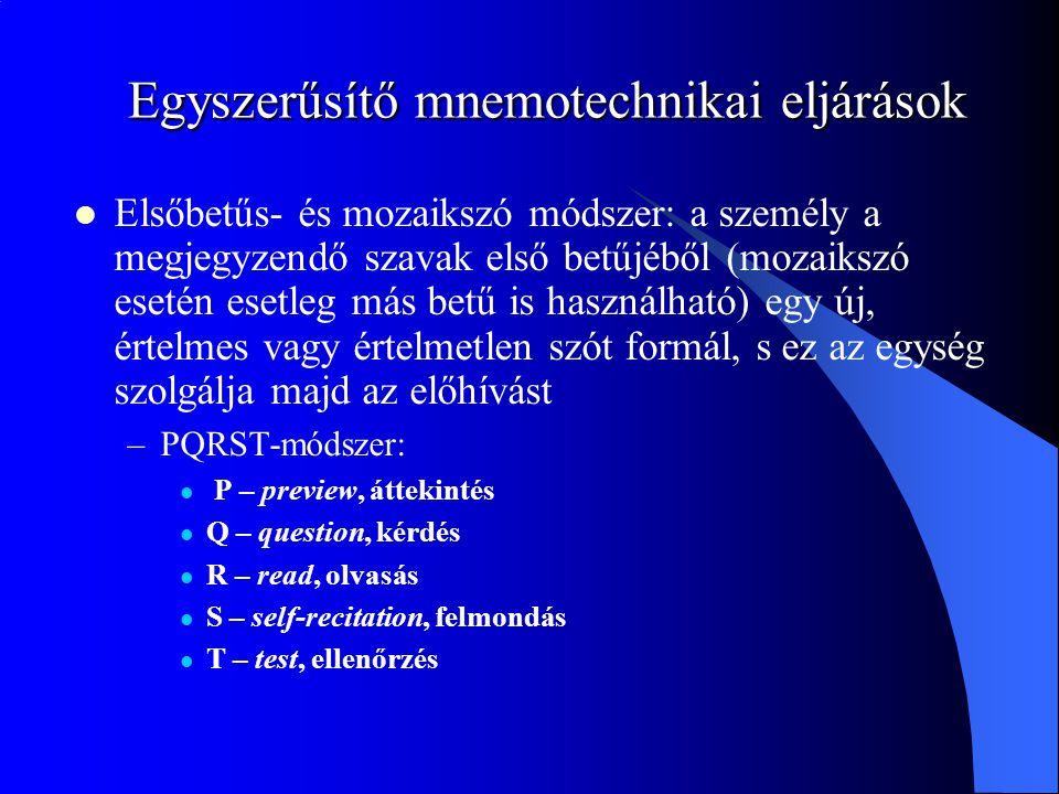 Egyszerűsítő mnemotechnikai eljárások Elsőbetűs- és mozaikszó módszer: a személy a megjegyzendő szavak első betűjéből (mozaikszó esetén esetleg más be