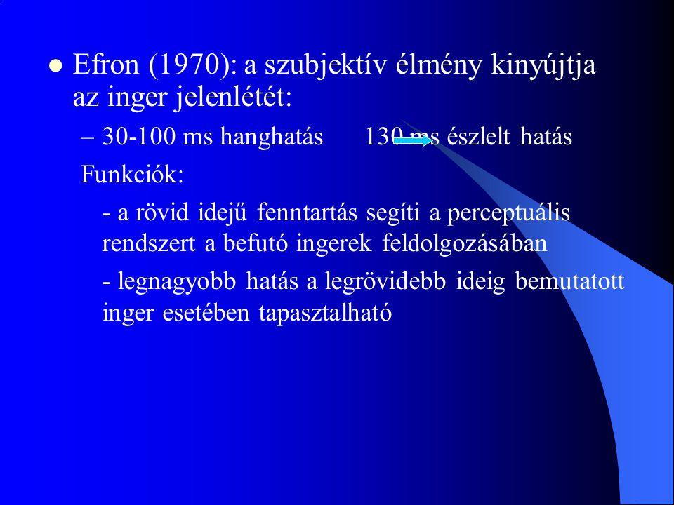 Efron (1970): a szubjektív élmény kinyújtja az inger jelenlétét: –30-100 ms hanghatás 130 ms észlelt hatás Funkciók: - a rövid idejű fenntartás segíti
