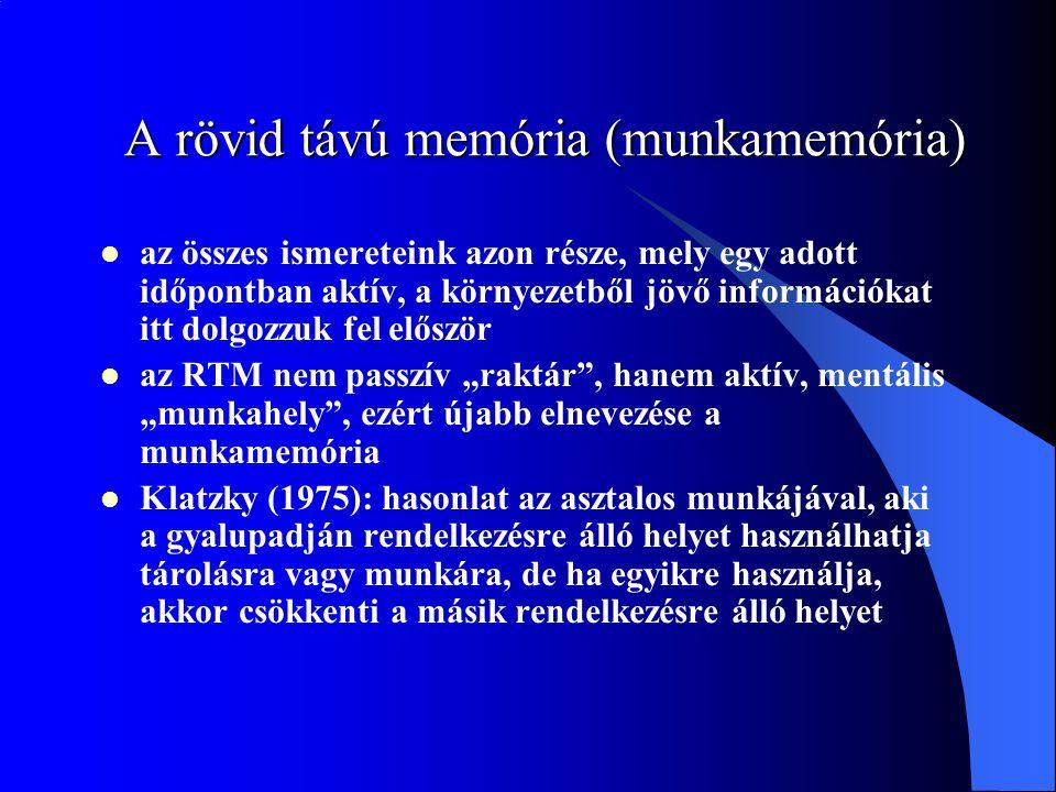 A rövid távú memória (munkamemória) az összes ismereteink azon része, mely egy adott időpontban aktív, a környezetből jövő információkat itt dolgozzuk