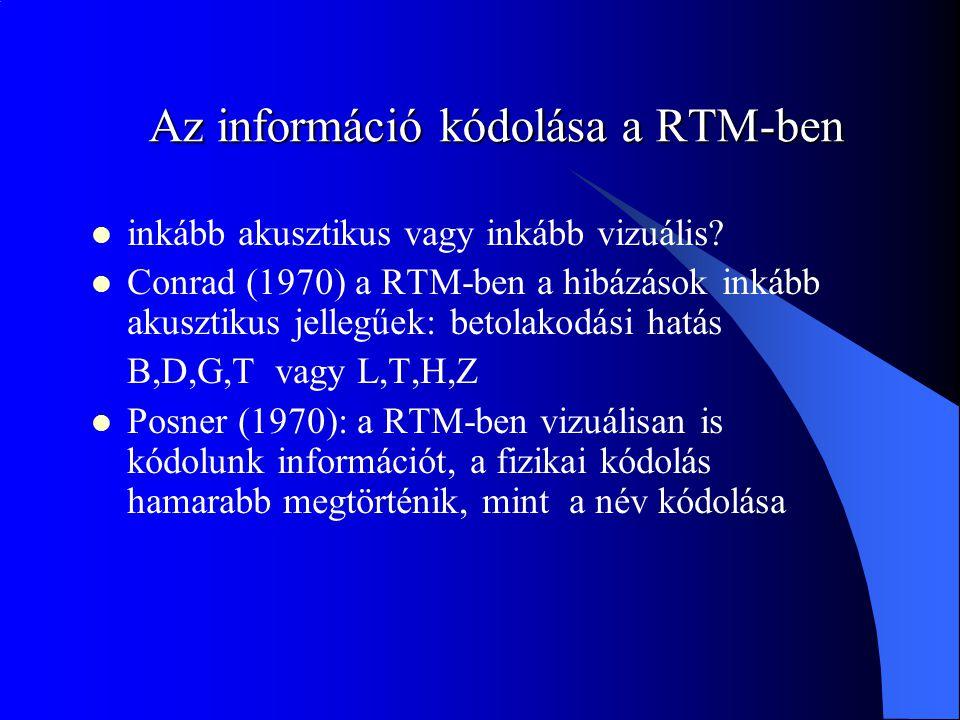 Az információ kódolása a RTM-ben inkább akusztikus vagy inkább vizuális? Conrad (1970) a RTM-ben a hibázások inkább akusztikus jellegűek: betolakodási