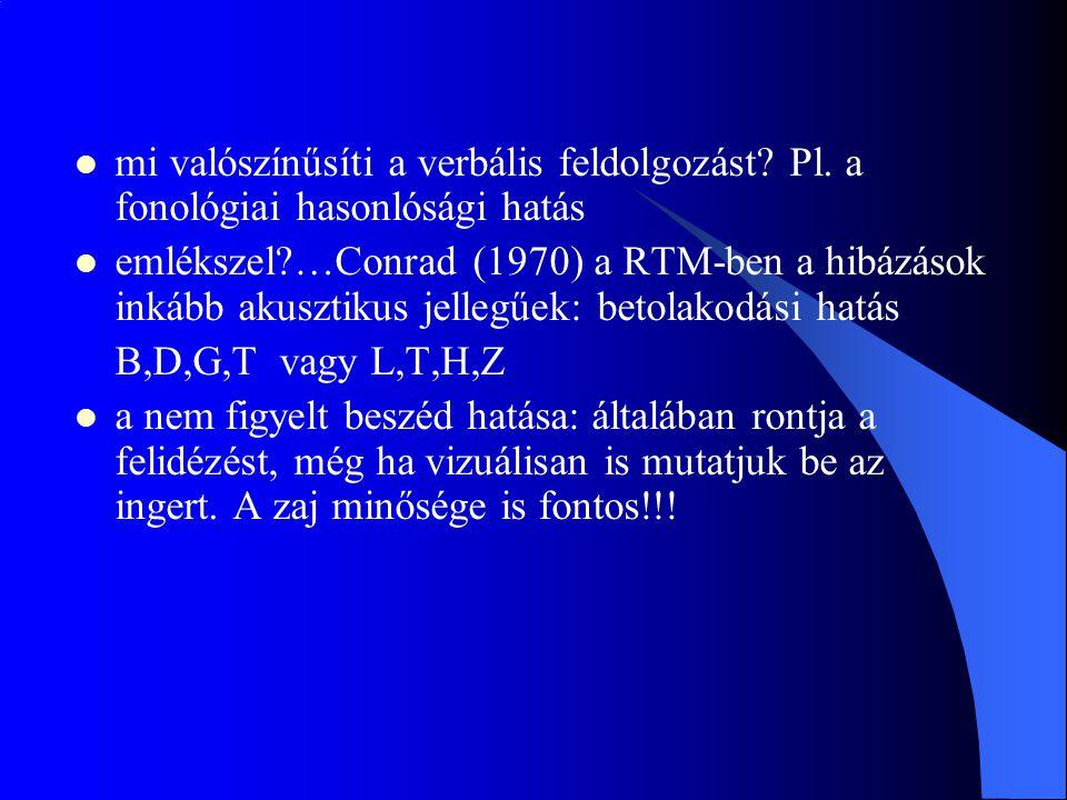 mi valószínűsíti a verbális feldolgozást? Pl. a fonológiai hasonlósági hatás emlékszel?…Conrad (1970) a RTM-ben a hibázások inkább akusztikus jellegűe