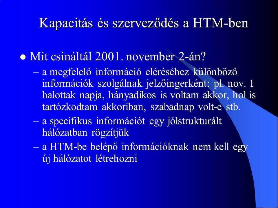 Kapacitás és szerveződés a HTM-ben Mit csináltál 2001. november 2-án? –a megfelelő információ eléréséhez különböző információk szolgálnak jelzőingerké