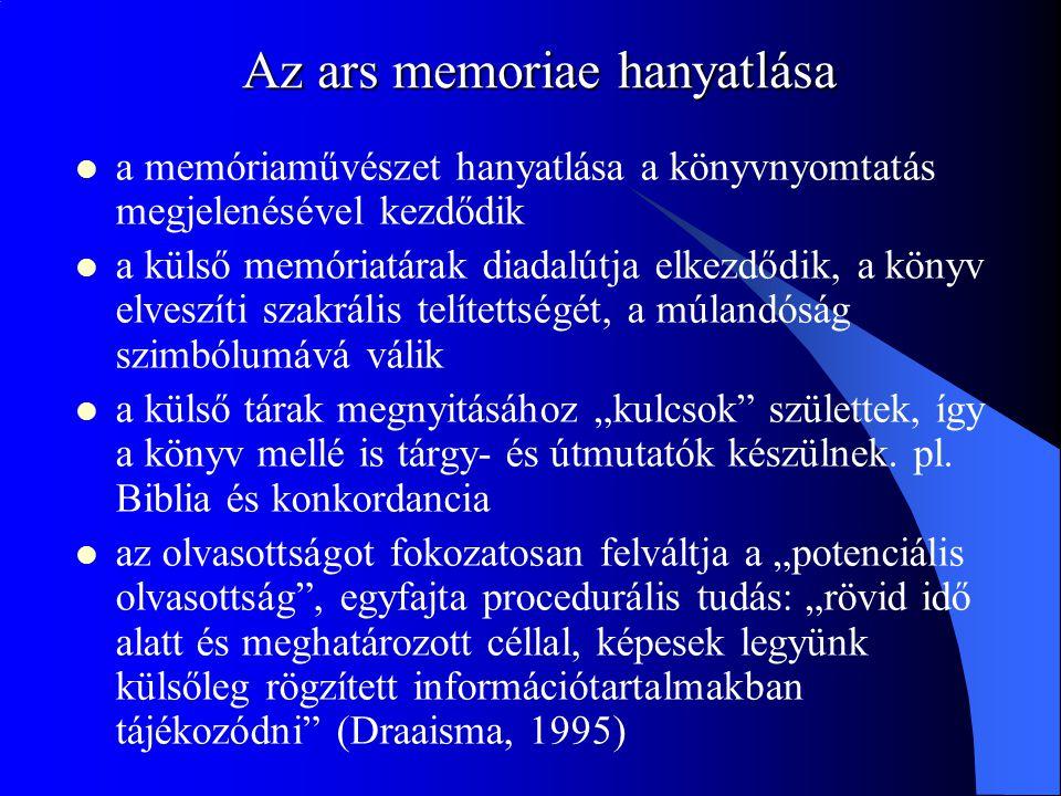 Az ars memoriae hanyatlása a memóriaművészet hanyatlása a könyvnyomtatás megjelenésével kezdődik a külső memóriatárak diadalútja elkezdődik, a könyv e