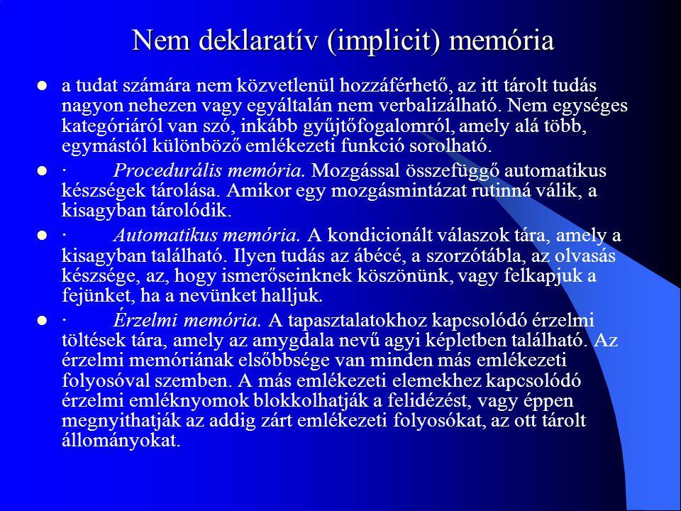Nem deklaratív (implicit) memória a tudat számára nem közvetlenül hozzáférhető, az itt tárolt tudás nagyon nehezen vagy egyáltalán nem verbalizálható.