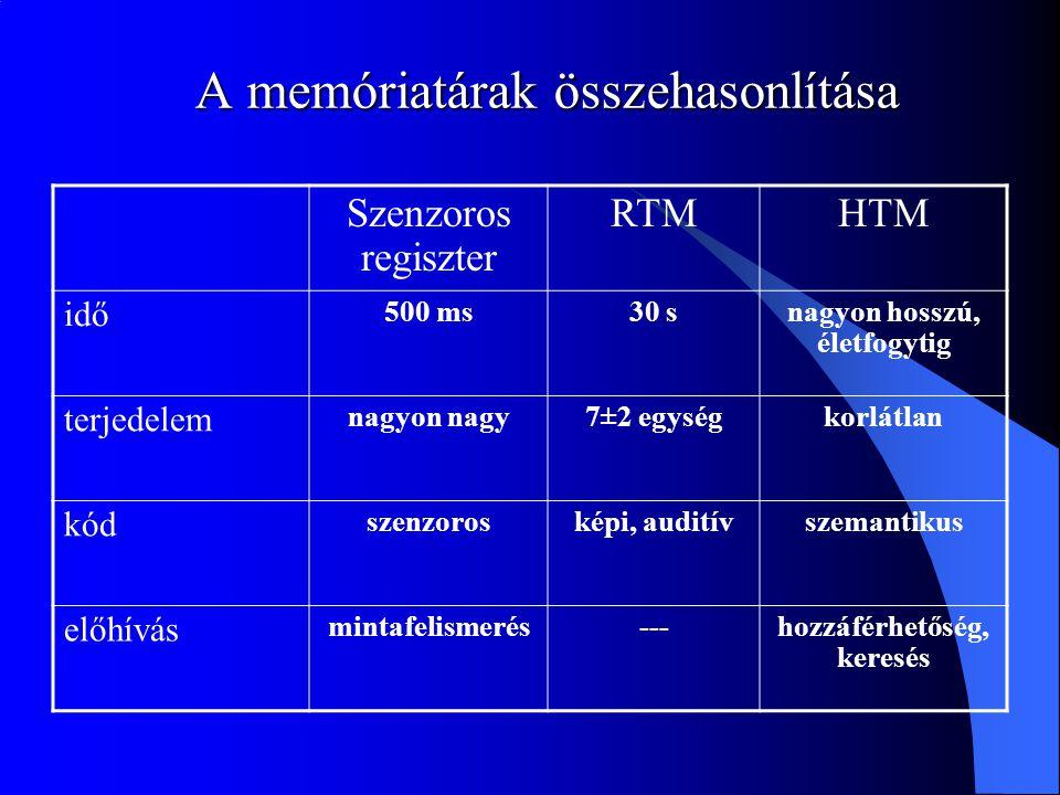 A memóriatárak összehasonlítása Szenzoros regiszter RTMHTM idő 500 ms30 snagyon hosszú, életfogytig terjedelem nagyon nagy7±2 egységkorlátlan kód szen