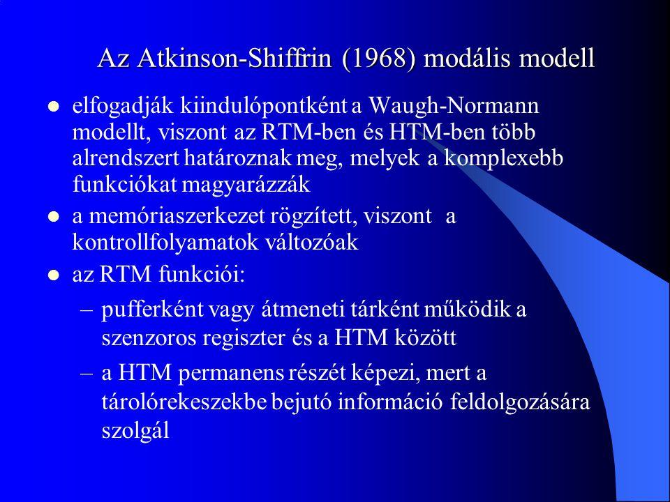 Az Atkinson-Shiffrin (1968) modális modell elfogadják kiindulópontként a Waugh-Normann modellt, viszont az RTM-ben és HTM-ben több alrendszert határoz