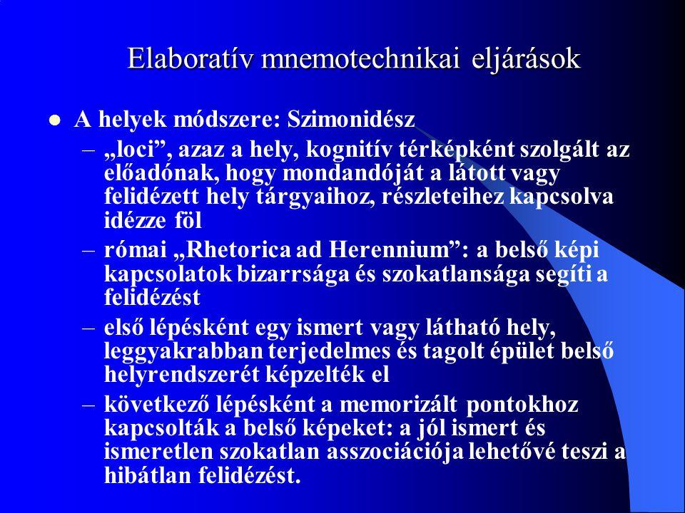 """Elaboratív mnemotechnikai eljárások A helyek módszere: Szimonidész –""""loci"""", azaz a hely, kognitív térképként szolgált az előadónak, hogy mondandóját a"""