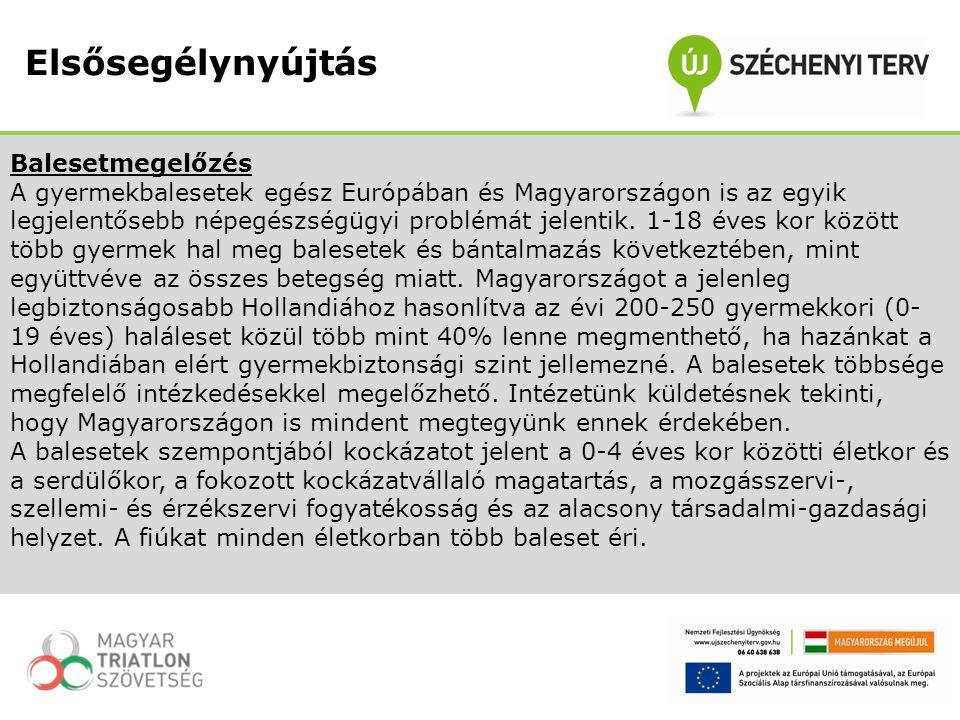 Balesetmegelőzés A gyermekbalesetek egész Európában és Magyarországon is az egyik legjelentősebb népegészségügyi problémát jelentik. 1-18 éves kor köz