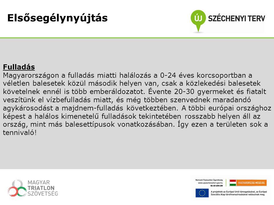 Fulladás Magyarországon a fulladás miatti halálozás a 0-24 éves korcsoportban a véletlen balesetek közül második helyen van, csak a közlekedési balese